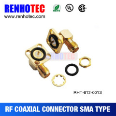 Right Angle SMA 4 Hole Flange Jack Connector