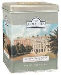 Embossed hinged tea tin box