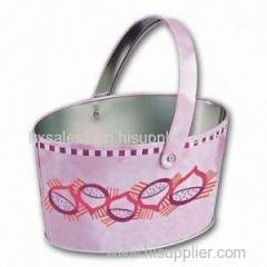 Oval shape storage usage metal basket with handle