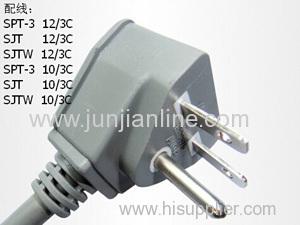 US 125v Standrad 3pin power plug cord