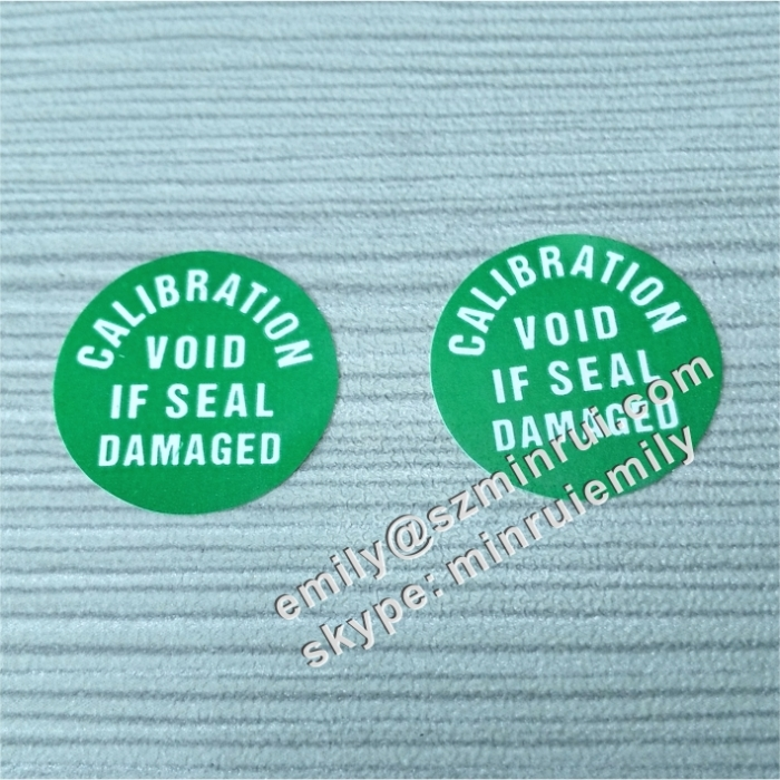 Custom green qc passed tamper evidence label destructible vinyl sticker round destructible calibration void sticker