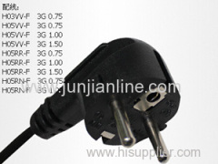 Europe 250v VDE Standrad 3pin plug power wire / cable
