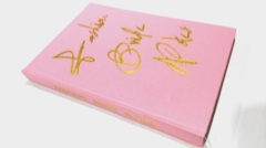 Pink linen cloth cover notebook