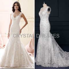 ALBIZIA 2016 Retro Beading Lace Satin Open Back Sweep/Brush Mermaid Wedding Dresses