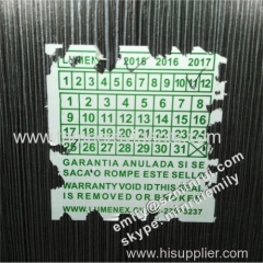 Custom Big Size Warranty Seal Stickers Printing Wiith Warranty Dates Months and Years