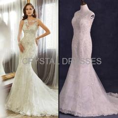 Albizia sparkle Lace Beads Tulle Backless vintage Sweep/Brush Mermaid Wedding Dresses