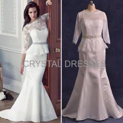 ALBIZIA Exquisite Ivory Lace Satin Sash allure Sweep/Brush Mermaid Wedding Dresses