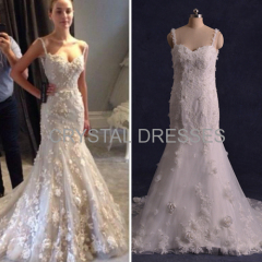 ALBIZIA Sexy White Lace Flowers Tulle Open Back allure Mermaid Wedding Dresses