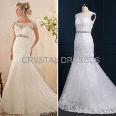 ALBIZIA Fashion Ivory Lace Beading Off-the-shoulder Sweep/Brush Mermaid Wedding Dresses