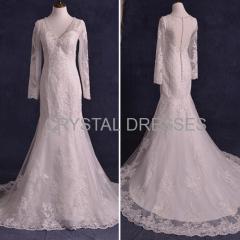 ALBIZIA Exquisite Ivory V-neck Beads Lace Tulle wholesale Mermaid Wedding Dresses