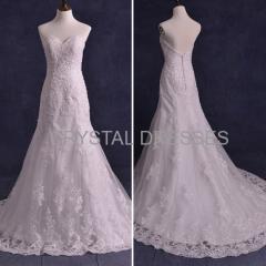 ALBIZIA Ivory Sweetheart Classic Beads Lace Low Back Sheath Mermaid Wedding Dresses