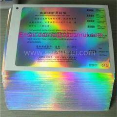China top self adhesive vinyl material factory Shenzhen Minrui wholesale a4 size hologram destructibl label paper roll
