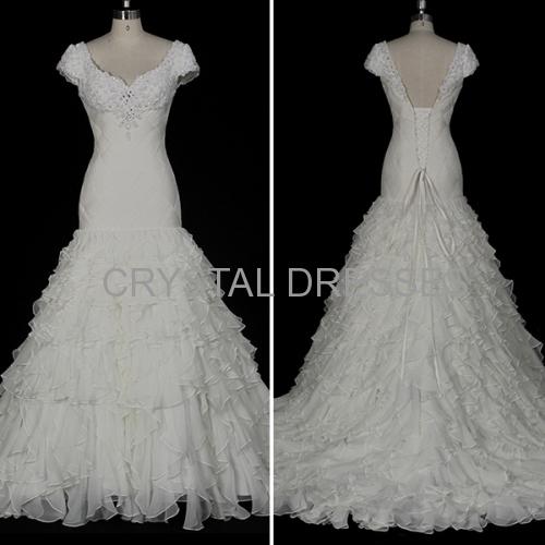 ALBIZIA high quality Pleated Ruffles Beading Organza Chiffon Mermaid Wedding Dresses