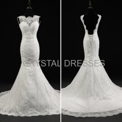 ALBIZIA sparkle Ivory Boat Neck Beads Lace Satin monsoon Sweep/Brush Mermaid Wedding Dresses