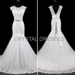 ALBIZIA Simple Ivory Scoop Lace Tulle V-Back modest Mermaid Wedding Dresses