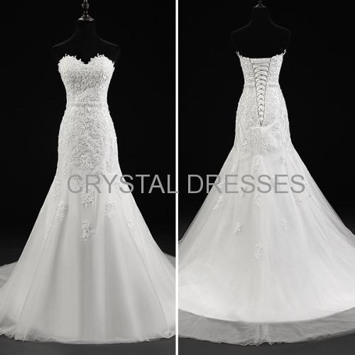 ALBIZIA Simple Ivory Lace Tulle Applique Beads Long Mermaid Wedding Dresses