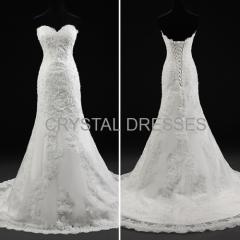 ALBIZIA Retro Ivory Lace Satin Applique Beads casual Mermaid Wedding Dresses