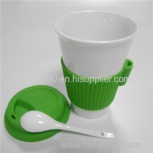 Ceramic Cups With Spoon Holder