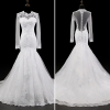 ALBIZIA Sexy Ivory Scoop Tulle Lace Applique Mermaid wholesale Wedding Dresses