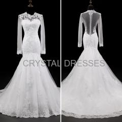 ALBIZIA Sexy Ivory Scoop Tulle Lace Applique Mermaid wholesale Wedding Dresses