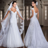 ALBIZIA Pleated White Lace Applique Beads Detachable Train Mermaid Wedding Dresses