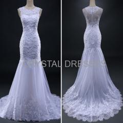 ALBIZIA Sexy White Sheer Skirt Lace Beading allure Mermaid Wedding Dresses