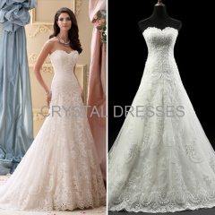 ALBIZIA Matching Ivory Lace Tulle Beads Slim A-Line modest Long Wedding Dresses