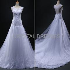 ALBIZIA Beading White Lace Tulle Sheer Back A-line Wedding Dresses