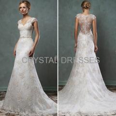 Lace Sash Tulle Mermaid Wedding Dresses
