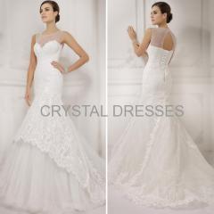 ALBIZIA Fashion Ivory Lace Bateau Tulle Sweep/Brush Wedding Mermaid Dresses