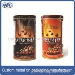 Clip lid coffee bean tin box/ plastic lid coffee bean gift metal package