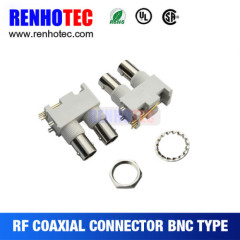 Right Angle White Plastic Double BNC Female in One Row