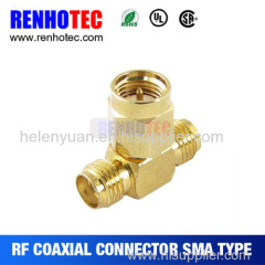 RP SMA Male to Two RP SMA Female Triple T RF Adapter Connector 3 way Splitter
