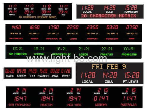 Ultra Red 4 Digit 4.0  7 segment LED Clock Display for Digital Time Zone Displays