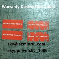 paper warranty sticker/permanent self adhesive destructible vinyl label/fragile destructible label