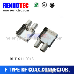 PCB mount female F connector with shielding case