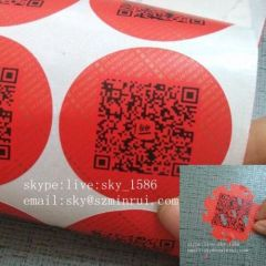 Security Red Round Custom Destructible Label Stickers with Barcode Printing