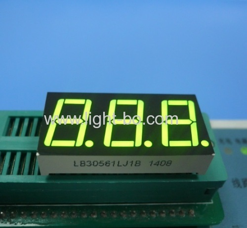Pure Green common cathode 0.56inch triple digit 7 segment led display for Instrument Panel