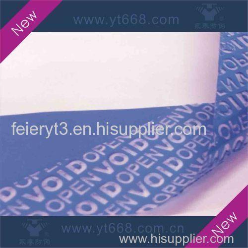 Blue tamper evident VOID label