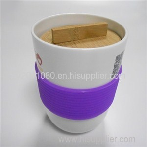 Wooden Lid Ceramic Cups