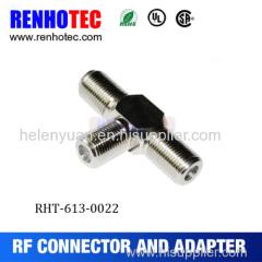 Three F Female connector adapter F female to female to female