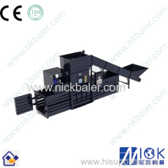 with conveyor feeding waste paper recycling baler