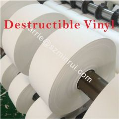 China best price of destructible self adhesive vinyl paper roll for high quality Eggshell/graffiti sticker paper