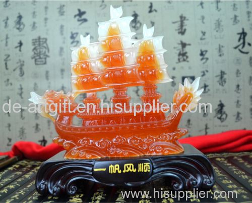 decor crystal resin jade boat sculpture