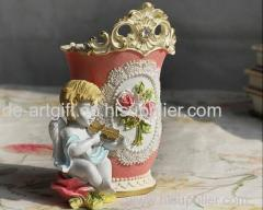 Fashion Hand painted flower resin rose pen container vase pen holder
