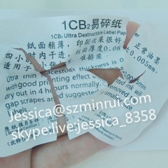 Custom Self Adhesive Vinyl Fragile Label Paper Destructible Security Blank Eggshell Sticker Paper Material