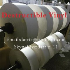 Best price of destructible self adhesive vinyl material roll high quality Eggshell vinyl sticker paper roll and sheets