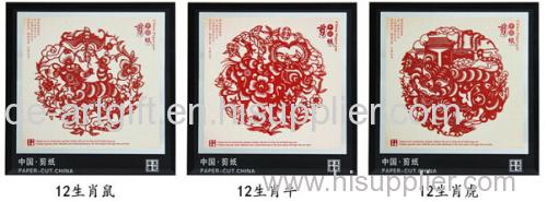 chinese folk paper cut art happy new year flocking paper cutting