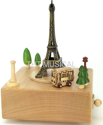 EIFFEL TOWER NATURAL WOOD MUSIC BOX