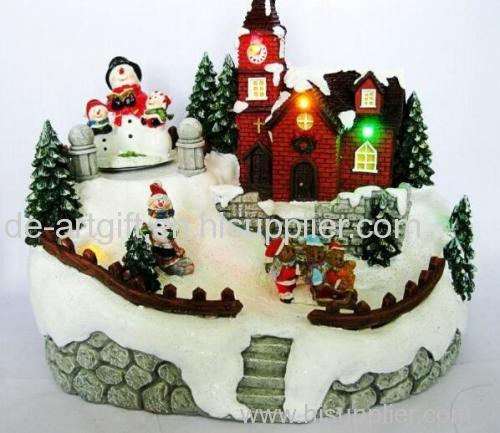Christams village house ceramic led light for decoration